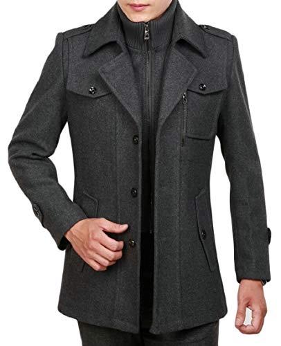 Blend Gocgt Zipper Wool Coats Classic Front Pea Men's Button 1 Collar Notched qqgn8r