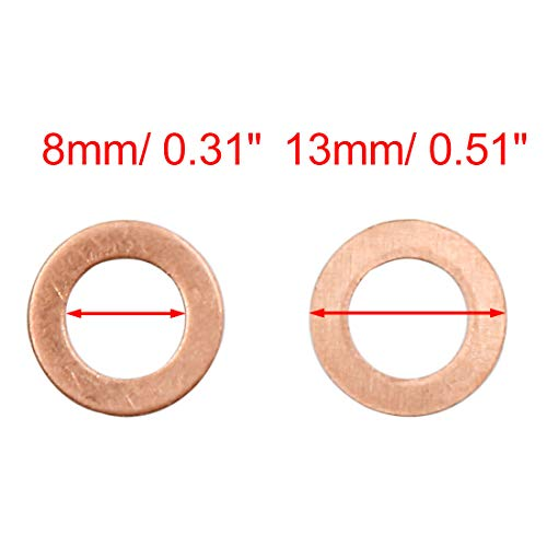 X AUTOHAUX 100 Pcs 8mm Inner Diameter Copper Washers Flat Sealing Gasket Rings for Cars by X AUTOHAUX (Image #1)