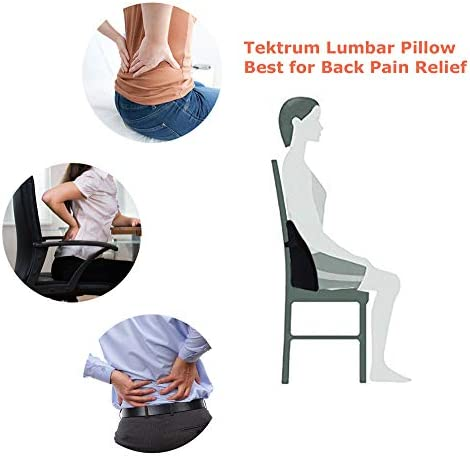 Ergonomic 3D Design Fit Body Curve TD-QFC002 Home//Office Chair Sofa Backrest Tektrum Back Support Orthopedic Lumbar Pillow for Car Seat Black Lower Back Pain Relief Washable Cover Travel