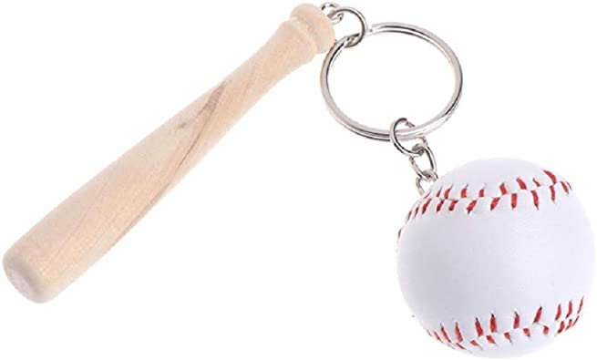 rechercher les plus récents design distinctif remise spéciale Porte-clés Baseball Batte en Bois Et Balle Blanche Cousu ...