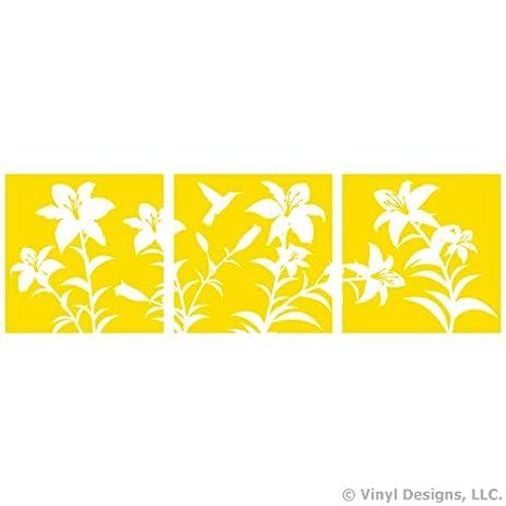 Amazon.com: Hibiscus Flowers and 1 Hummingbird Vinyl Wall Decal ...