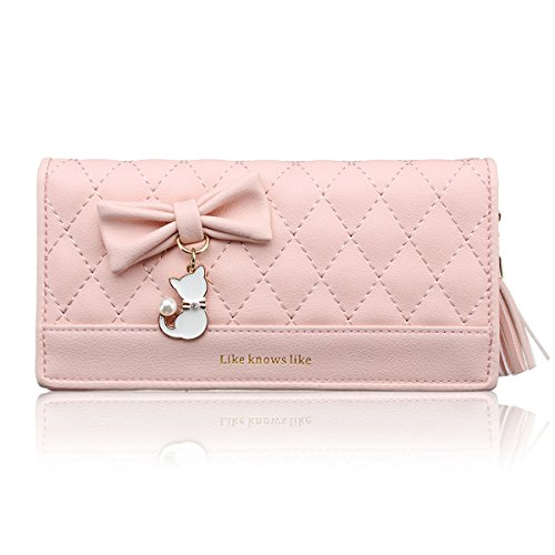 Nawoshow Women faux leather Coin Purse Cat Bowknot Wallets with Tassel Zipper(Pink) ()
