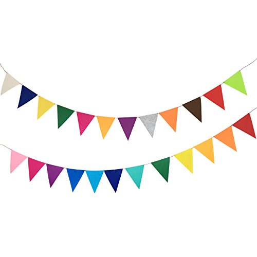 Misscrafts 16.4 Feet Pennant Banners Total 24pcs Felt Fabric Bunting String Flag Banner Garland for Christmas Baby Shower Grand Opening Party Festivals Room -