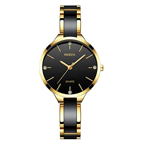 (Women's Watch Ceramics Modern Analog Dial Quartz Movement Luxury Fashion Diamonds Alloy Dial 30m Waterproof Memorial Day Gift,Black)