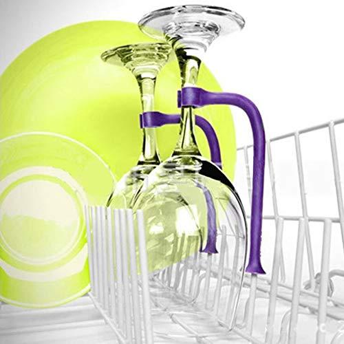 #1 Unique Stemware Wine Glass Saver - Silicone Wine Glass Holder for Dishwasher, Set of (4) Flexible Dishwasher Attachments for Your Wine or Champagne Glasses (Purple)