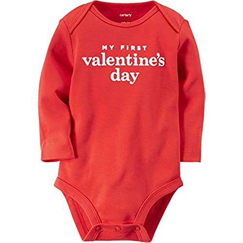 carters baby girls my first valentines day bodysuit 6 months red - Infant Valentines Day Outfits