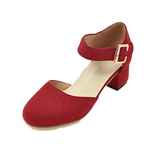 Rojo Mujeres De Puntera Aalardom Sandalias Redonda Tsmlg005508 Tacón Mini Vestir RYaxnzdxqw