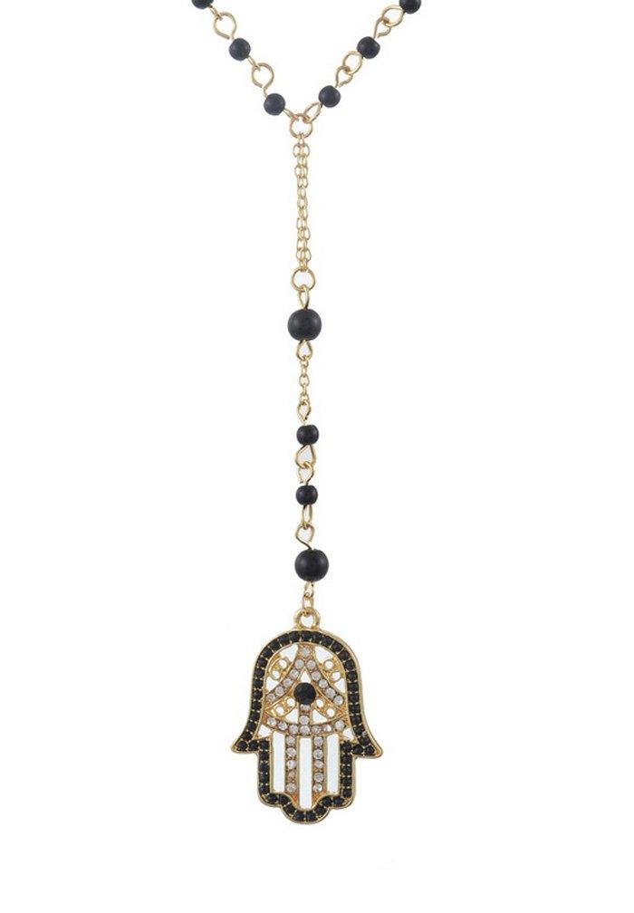 Amazon hamsa hand necklace evil eye jewelry for success and mjartoria black and white rhinestone pave hamsa hand pendant beads deco y chain necklace gold color aloadofball Choice Image