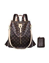 LXJSTORE Designer Shoulder Bag for Women Fashion Backpack Purse Leather Zipper Handbags