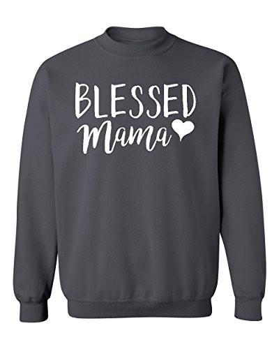 Heart Crewneck Sweatshirt - Blessed Mama Heart Mother's Day Crewneck Sweatshirt, M, Charcoal