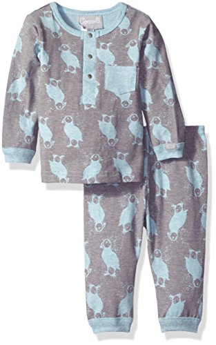 lue Puffin Print Jersey Knit Cotton 2 Piece Set, Heather Blue/Slate Print, 12 Months ()