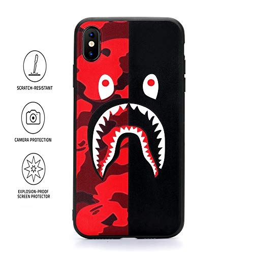 Kplvet iPhone Xs Max Case,Ultra Soft Embossed Craft Non Faded Durable Flexible Slim Thin 6.5 Inches Xs-Max Case,Street Fashion Basic Protective Phone Cover (Red Black Shark)