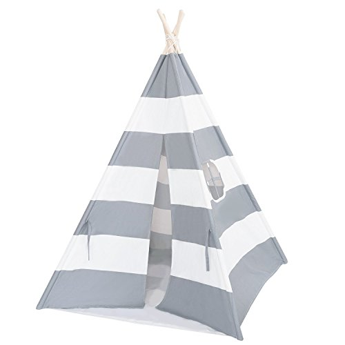 Alternating Stripe Tie - Porpora Indoor Indian Playhouse Toy Teepee Play Tent for Kids Toddlers Canvas with Carry Case, Grey Stripe