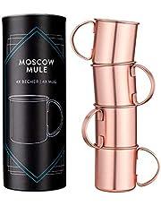 Navaris Moscow Mule mugg set om 4 – 4 st. kopparkoppar för Moskva Mule Gin Öl – cocktailmugg mule-mugg slät – kopp av rostfritt stål med koppar