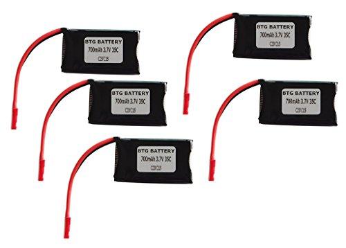 BTG 3.7V 700mAh 35C Upgrade Battery for Traxxas LaTrax Alias Quadcopter-pack of 5