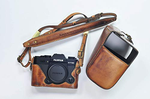 US KAZA Compatible Leather Half Case + Strap + case Cover Genuine Leather Vintage Brown Camera case for Fujifilm Camera Model X-T30 - T30 Model
