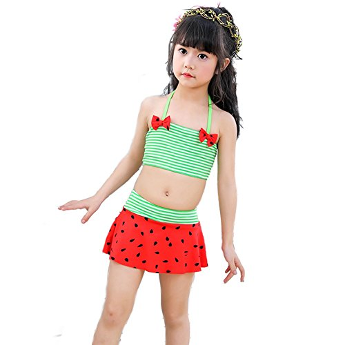 8a4b216068 BERTERI Two-Piece Cute Watermelon Striped Bow Strapless Swimsuit Bathing  Suits Bikini Swimwear for Baby