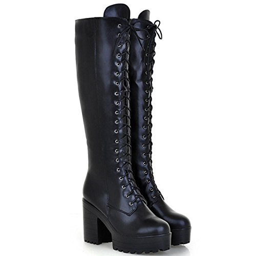 Women Boots Fashion Zipper Long Black KemeKiss dFSOd