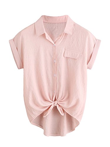 Shein Womens Plain Lapel Collar Rolled Sleeve Knotted Front Blouse Pink Large