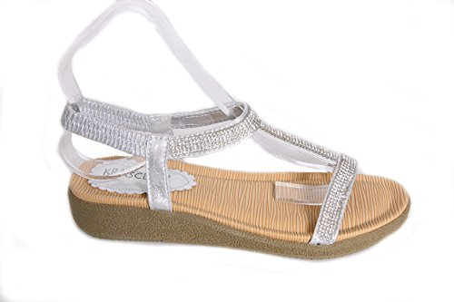 WOMENS LADIES DIAMOND TRIM LOW WEDGE COMFORT STRAP SUMMER SANDAL SHOE SIZE 3-8 Silver