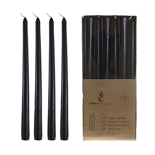 (Mega Candles 12 pcs Unscented Black Taper Candle | Hand Poured Wax Candles 10