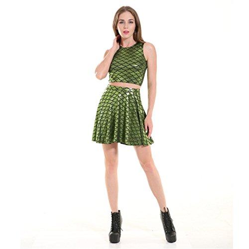 tempo il pezzi Green Set Due Skirt Girl Skater Bilance libero Mini pesci per Grass per Skater Dress Modello Girl Short Summer Acvip q7CPH