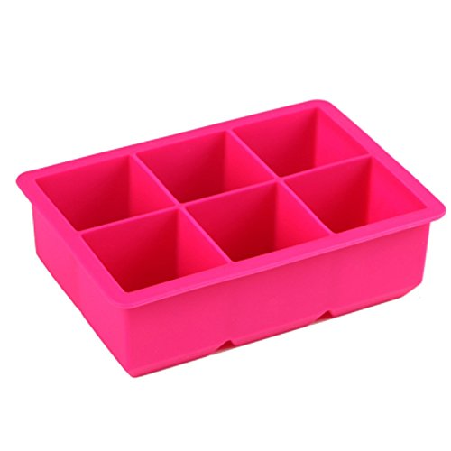 JUNGEN Bacs A Glaçons En Silicone de Qualité Alimentaire Boîte de Congélation Pour 6 Gros Cubes (rose)