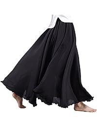 Women's Bohemian Style Elastic Waist Band Cotton Long...