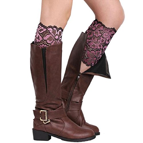 (Egmy Winter Socks, Warm Women Stretch Lace Boot Leg Cuffs Soft Laced Boot Socks (Pink))