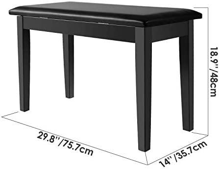 Neewer® Banco de madera Piano Duos con Cojín acolchado de cuero para Comodidad de Lujo y Construido en flip-top Asiento Adicional Compartimiento de ...