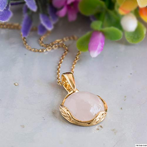 Sterling Silver Vermeil Necklace - Rose Quartz Necklace - 14K Gold Plated over 925 Sterling Silver, Dainty 12mm Pink Rose Quartz, Genuine Natural Gemstone Pendant, Delicate Handmade Jewelry Vintage Antique Style, Gift for Women