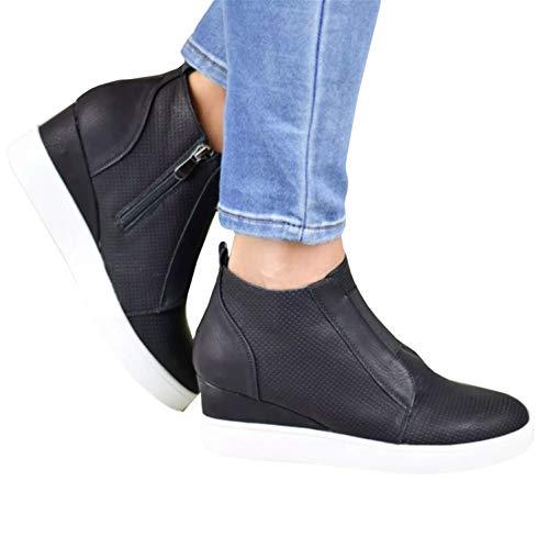 Womens Wedge Sneakers Penny Mid Heel Pump High Top Laser Cut Side Zip Booties ()