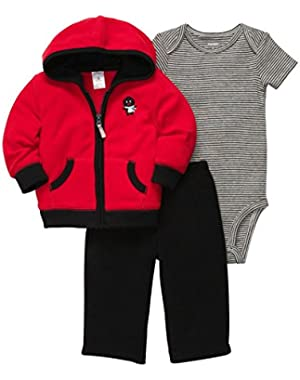 Carters Infant Boys 3 Piece Penguin Outfit Sweat Pants Creeper Hoodie Jacket