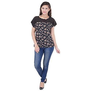 Saarvi Fashion Casual Short Sleeve Printed Women's Top Women's Tops
