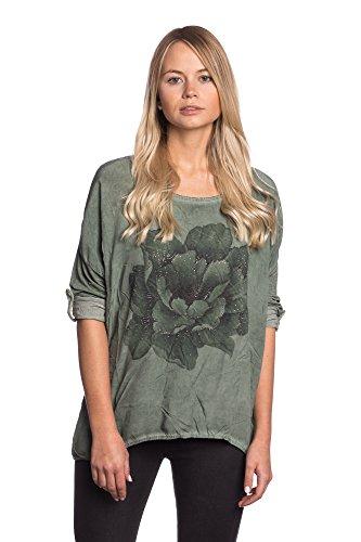 Abbino 15111 Camisas Blusas Tops para Mujeres - Hecho en ITALIA - Colores Variados - Entretiempo Primavera Verano Otoño Mujeres Femeninas Elegantes Formales Casual Vintage Oficina Fiesta Rebajas Verde Caqui (Art. 15111-4)