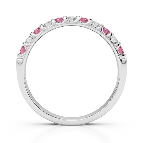 Or blanc 18carats 0,15CT G-H/VS Certifié Coupe ronde Tourmaline Rose et diamants Agdr-1107