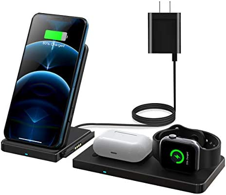 QI-EU Wireless Charger, 24W Fast Wireless Charging Station, Qi-Certified Detachable Charging Stand for Apple iWatch SE/6/5/4/3/2/1 Airpods Pro iPhone 12/12 professional/11/11 Pro/Se/8/X/XS(With QC 3.0 Adapter)
