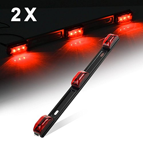 Partsam LED 3 Light ID Bar Marker Light Truck Trailer Black Base RV 14.2 x 1.2 Auto Lighting