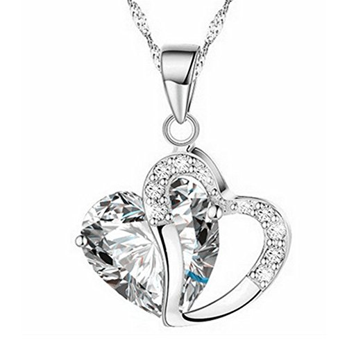 JQUEEN 1Pc Stylish Artificial Gem Love Heart Shape Pendant Chain Necklace Valentines Gift (1 Wife Heart Pendant)