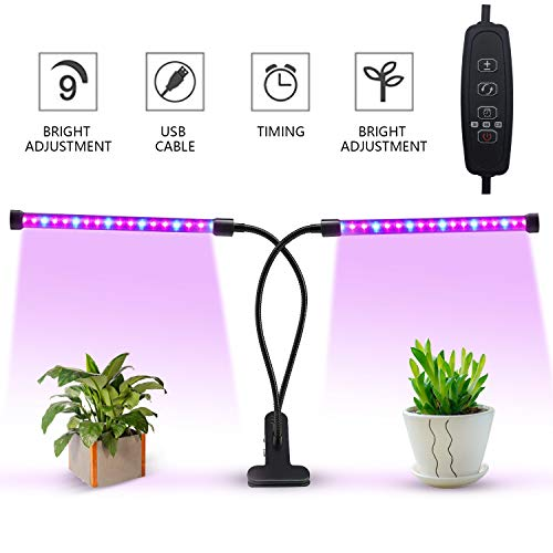 EOSAGA LED Grow Light, 18W Dual Head Timing Grow Lamp, 36 LED Chips with Red/Blue Spectrum for Indoor Plants Adjustable Gooseneck 3/6/12H Timer, 5 Dimmable Levels Review
