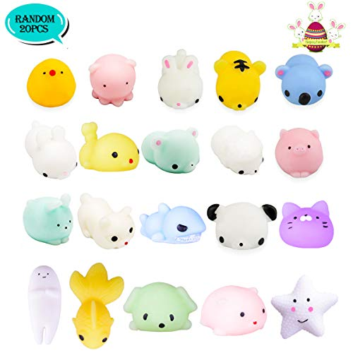 LEEHUR 20Pcs Mochi Squishy Kids Party Favors Kawaii Soft Mini Moj Squishies Pack Squeezes Stress Anxiety Relief Toys Easter Gifts Easter Basket Stuffers Fillers for Adults -