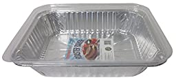 Durable Packaging Aluminum Roasting Pan with Lid, 11-3/4\