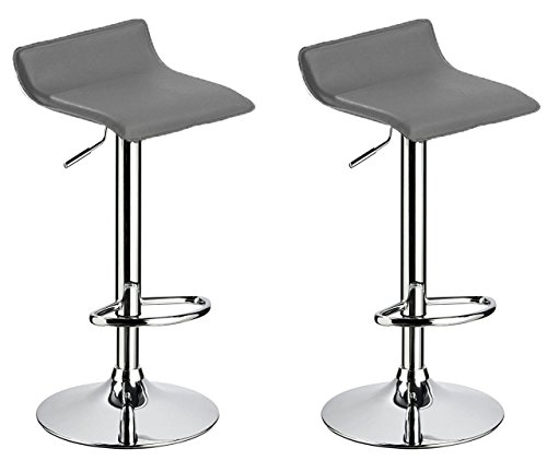Bar stool WY-118 Curved Adjustable with PVC Leather Seat Set of 2 Bar chair (Leather Curved 2 Seat)