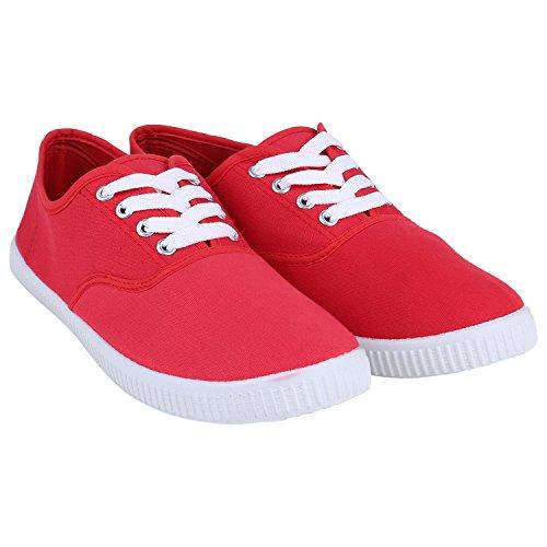 Stiefelparadies Damen Sneaker Low mit Plateau Metallic Zipper Flandell Rot Red