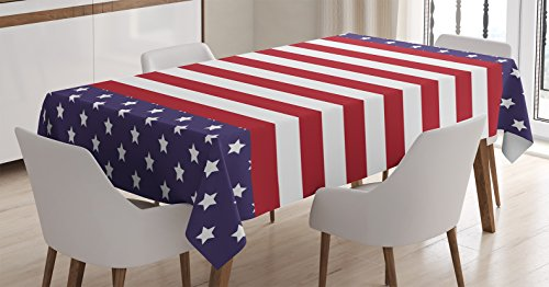 Striped Decor Tablecloth by Ambesonne, American Flag with Stars Stripes USA State Royalty Emblem National Icon Country, Dining Room Kitchen Rectangular Table Cover, 52W X 70L Inches, Blue Red