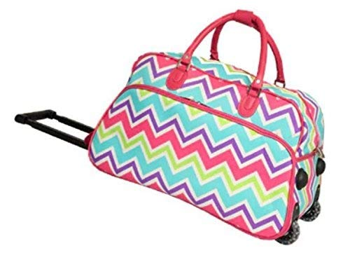 DH Girls Pink Chevron Duffel Bag, Carry On Luggage, Zig Zag Duffle, Blue Purple