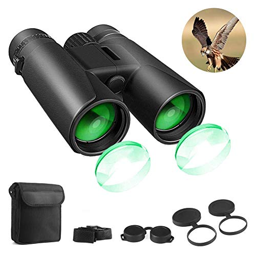 Binoculars for Adults, 12×42 HD Compact Binoculars for Bird Watching Hunting Traveling Concerts Sports with Weak Night Vision, BAK4 Prism FMC Lens with Strap Carrying Bag