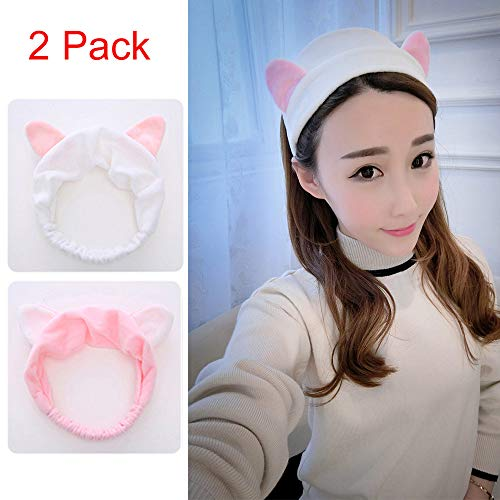 2 Pack Cat ear headband, Adorable and Comfortable Cat Ear Hair band,party, Makeup Cosmetic Facial Cleansing Beauty Elastic Plush Headband for Girls and Women