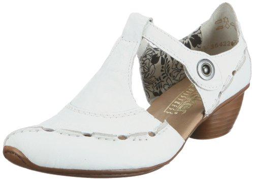 Rieker 43756 Damen T-Spangen Pumps Weiß (weiss / 80)