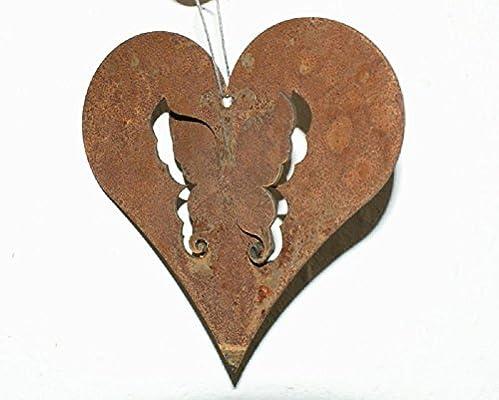 Edelrost Herz Mit Schmetterling 3d 10cm Rost Deko Amazon De Garten